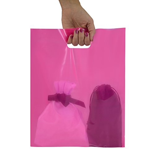 200 Pink Merchandise Bags 12x15 - 1.50 mil Extra Thick LDPE - (Pink Colored Cat)