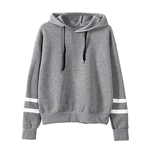 Realdo Hot Clearance Sale Womens Solid Striped Sweatshirt Jumper Hooded Pullover Tops Blouse