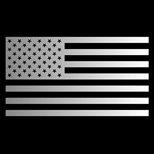 - American Flag USA [Pick Any Color] Vinyl Transfer Sticker Decal for Laptop/Car/Truck/Jeep/Window/Bumper (Medium (7.5in x 4.2in), Silver)