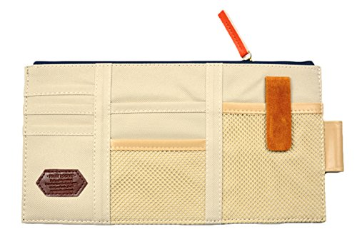 iSuperb Canvas Multi-function Car Space Sun Visor Organizer Card Phone Storage Pouch Bag 11.4x5.5inch(Beige)