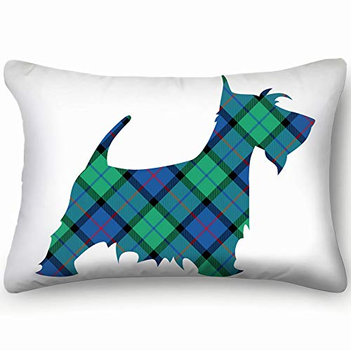 X-Large Scotch Terrier Tartan National Pattern Flower Animals Wildlife Vintage Two Side Decorative Pillowcase Queen Zippered Throw Pillow Case Cushion Cover 16 X 24 Inch