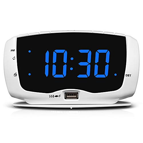 DreamSky Electronics Alarm Clock Radio for Bedrooms, FM Radio, 1.4 Inches Large LED Number Display, Dual USB Charging Ports, Headphone Jack, Snooze, DST, Sleep Timer (White+Blue)