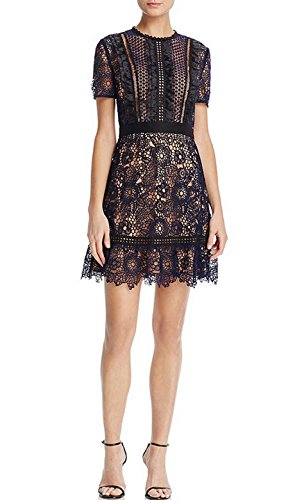 celebritystyle Women's Blue Flower Embroidered Lace Dress See Measurements (L, Navy (Bcbg Crochet Dress)