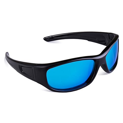 RIVBOS Rubber Flexible Kids Polarized Sunglasses Glasses for Baby and Children Age 3-10 (Mirrored Lens Available) RBK037(Black&Black,Blue Iced - Rivbos Sunglasses Polarized