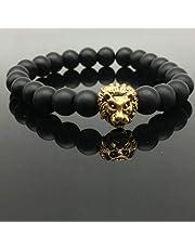 Black Onyx bracelet with Golden Lion