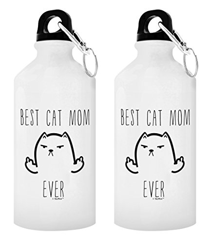 Cat Gifts for Women Funny Cat Middle Finger Cat Lover Gifts Cat Water Bottle Gift 2-Pack Aluminum Water Bottles with Cap & Sport Top Cat Mom