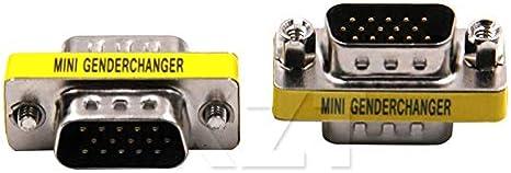 Computer Cables at 1PCS Mini Gender Changer Adapter 15-Pin HD15 VGA//SVGA M-M Cable Length: Adapter