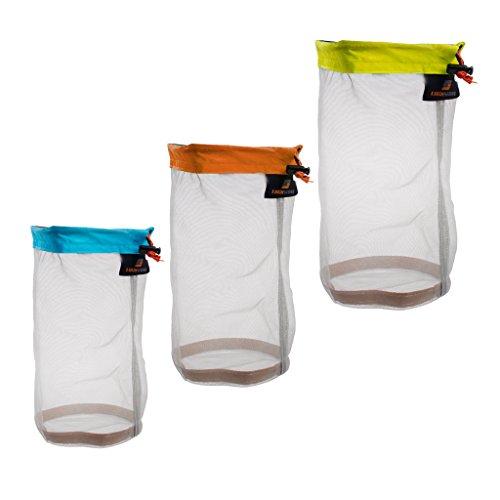 (Jili Online Ultra Stuff Sacks Nylon Mesh Drawstring Storage Bag for Travelling Hiking, Set of 3)