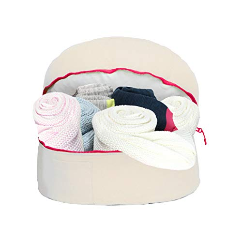 r & 2 Outer Pockets Storage Pouf, Vanilla Bean with Neon Pink ()