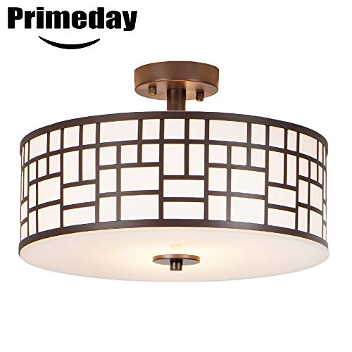 SOTTAE 2 Lights Oil Rubbed Bronze Finished Outdoor/Indoor Metal Hanging Fixture Lighting Flush Mount Ceiling Light,Ceiling Lamp(Diameter 16