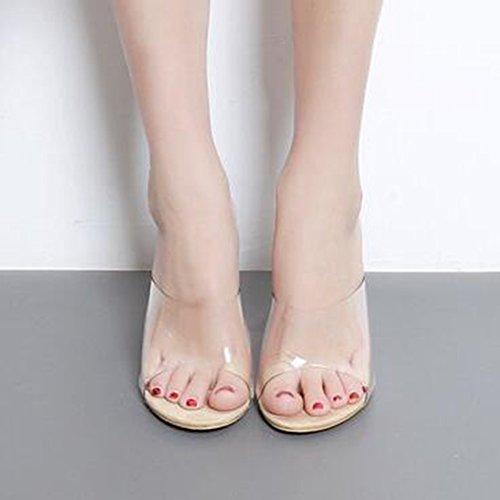 Easemax Donna Alla Moda Trasparente Peep Toe Senza Chiusura Alti Sandali Con Tacco Grosso Albicocca
