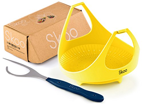 Silicone Vegetable Steamer Basket and Fork Set by Skoo. Instant Pot Accessories - Food Steamer Set, for Stove Top, Pressure Cookers, Microwave Safe. (Basket Food Safe)