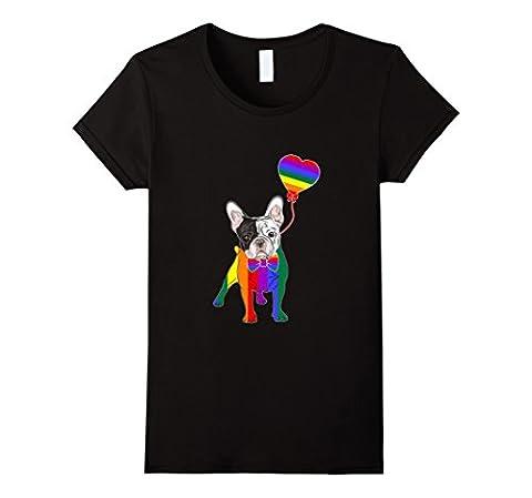Womens French Bulldog LGBTQ 2017 Rainbow Gay Lesbian Pride Tshirt Medium Black - Gay Pride Dog T-shirt