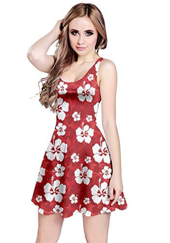 CowCow Womens Red Pattern with Hibiscus Flowers Red