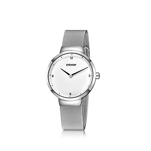 ETEVON Women's Quartz Analog Watch with Stainless Steel Band and Ultra-Thin Mesh Bracelet Waterproof, Simple Dress Wrist Watches for Women - Silver