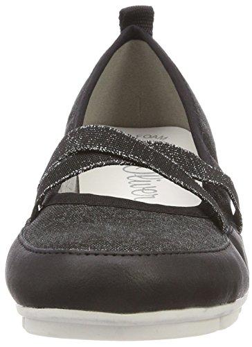 oliver Noir Ballerines black S Comb 24616 Femme 1HW7xxnB6
