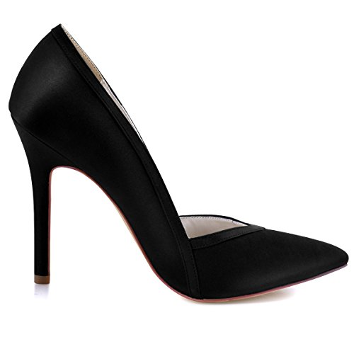 ElegantPark HC1603 Women's Pointed Toe High Heel V Cut Slip on Satin Dress Pumps Black US 7 by ElegantPark (Image #2)
