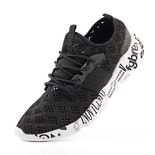 Wander G Men's Lightweight Breathable Mesh Street Sport Walking Shoes Casual Sneakers for Sports Gym Walking(44 EU = Men 10.5 D(M) US,Black)