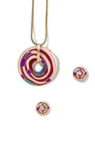 enamel-pendant-necklace-pierced-earring-set-snake-chain-open-circle-charm-studs-pink-magenta-red