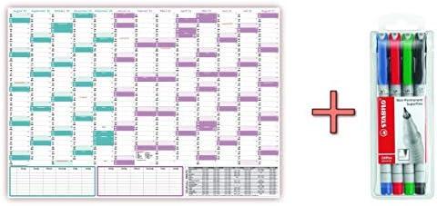 Schuljahreskalender 2020/21 DIN B1 nass abwischbar inkl. Stifteset - gerollt - August 2020 bis August 2021, 13 Monate - Wandkalender 2020/2021