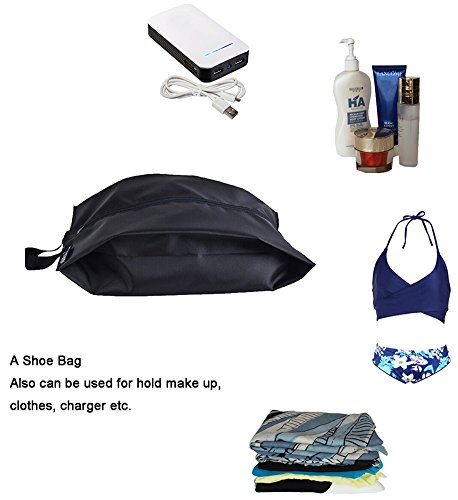 MISSLO Portable Nylon Travel Shoe Bags with Zipper Closure (Pack 4, Black) by MISSLO (Image #3)