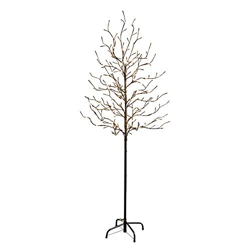 Gerson Everlasting Glow 92415027 Outdoor Electric City Light Tree with 204 Warm White LED Lights, Black, 6'