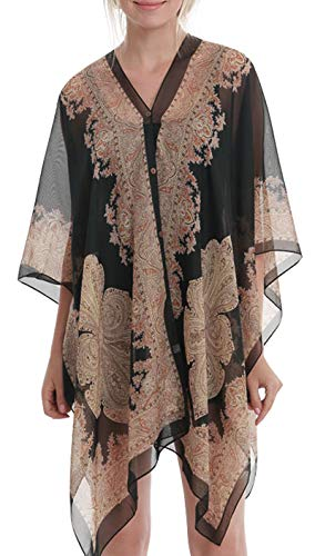 - Womens Casual Cover Ups Lightweight Chiffon Scarf Swimsuit Fashion Dress Black Flower