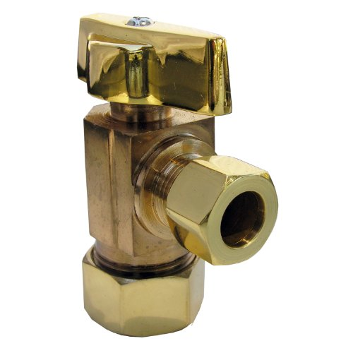 LASCO 06-9211PB Angle Stop, Quarter Turn with 5/8-Inch OD Compression x 3/8-Inch OD Compression, Polished Brass