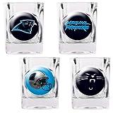 NFL Carolina Panthers Four Piece Square Shot Glass Set (Individual Logos)