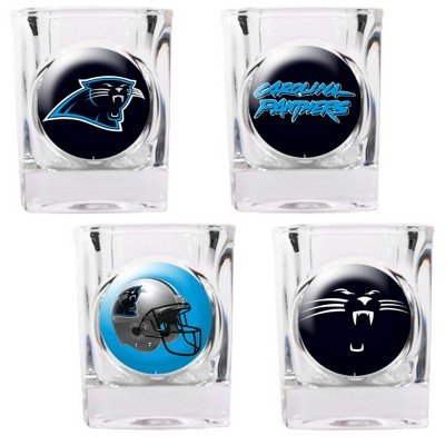 NFL Carolina Panthers Four Piece Square Shot Glass Set (Individual (Square Shot Glass Nfl Football)