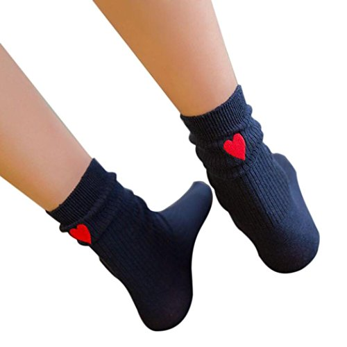 Livoty Fashion socks,Womens Heart Printed Cotton Socks (Navy)