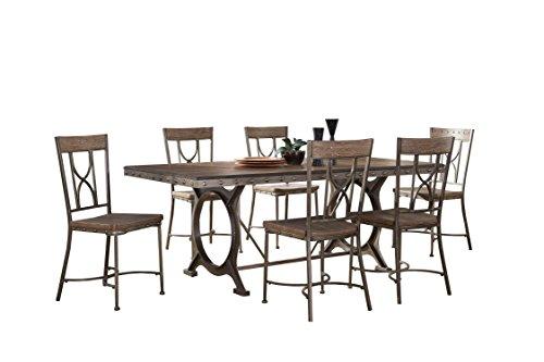 Hillsdale 5987DBTS7 7 Piece Rectangle Dining Set, Brown/Gray