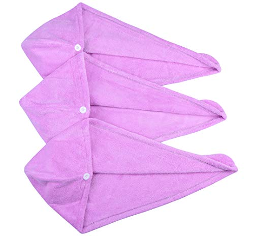 Wrap Your Hair - HOPESHINE Hair Drying Towel Twist Women's Soft Shower Microfiber Towels for Hair Turban Wrap Fast Drying Ultra Absorbent Cap Great Gift for Women (Purple 3-pack)