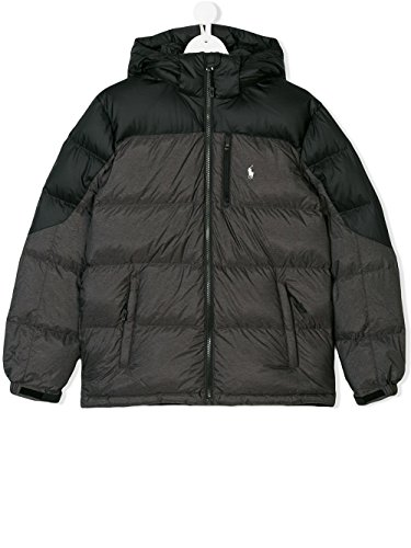 Ralph Lauren Down Puffer (RALPH LAUREN Boy's Down Puffer Coat (Black/Grey, Large (14-16)))