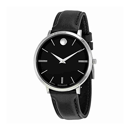 Movado Ultra Slim Black Sunray Dial Ladies Watch 0607090