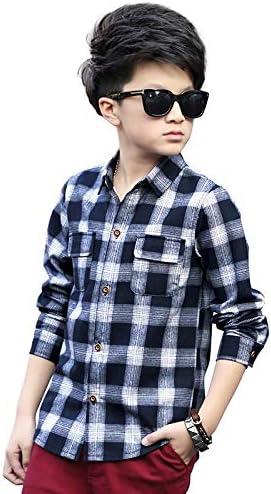 JXSHQS Camisa De Niño For Niños, Versión Coreana De La Camisa A Cuadros De Manga Larga A Cuadros For Niños Grandes, Camisa De Bebé For Niños Camisa de los niños (Color :