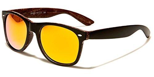 UV400 Sol Madera Bolsa Deporte Unisex GRATIS Cabaña Marrón negro Conducción VIBRANT Gafas LENTES Size De Retro COMPLETO Reflectante Oscuro One Protección Clásico Estampado INCLUIDO NARANJA Madera IqxawPX