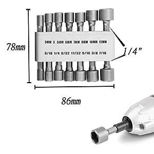 SHOWHASH 14pcs Power Nut Driver Set Black Case Dual Metric Standard Pneumatic Strong Power Nut Driver Drill Bit Set