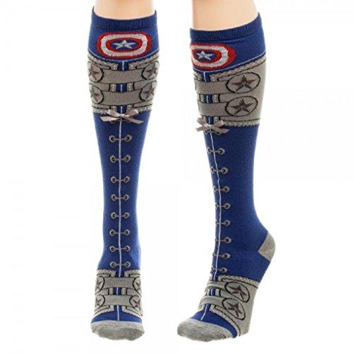 Adult size Marvel Captain America Civil War Suit Up Faux Lace Up Knee High Socks (Best Price For Captain America Civil War)