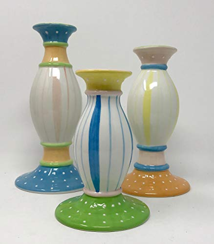 Willfred Ceramics - Jay Willfred Porcelain candlesticks- Set of Three