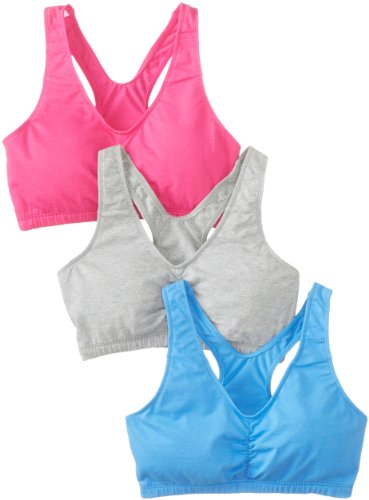 Fruit of the Loom Women's 3 pack Shirred Front Racerback, Wave Blue/Pink/Heather Grey, Size 34
