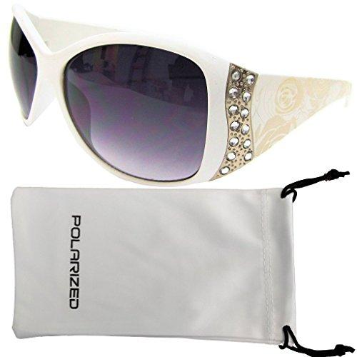 Vox Women's Polarized Sunglasses Designer Fashion Rhinestone Vintage Floral Eyewear - White Frame - Smoke - Dg Vintage Sunglasses