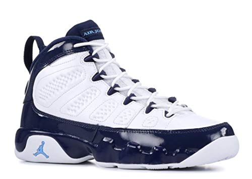 - Nike Jordan Kids' Grade School Air Jordan 9 Retro Basketball Shoes (4, White/Blue)