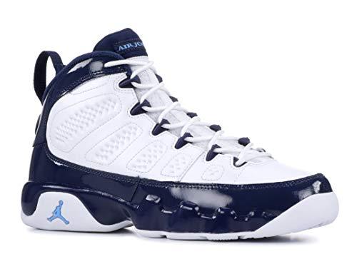 Nike Jordan Kids' Grade School Air Jordan 9 Retro Basketball Shoes (4, White/Blue)