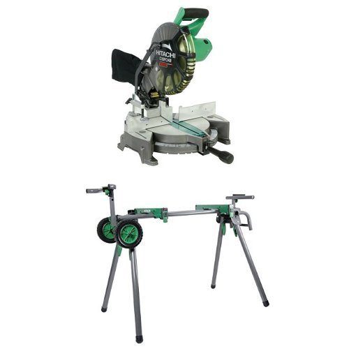 Hitachi C10FCH2 15-Amp 10-inch Single Bevel Compound Miter Saw with Laser Marker and Heavy-Duty Miter Saw Stand