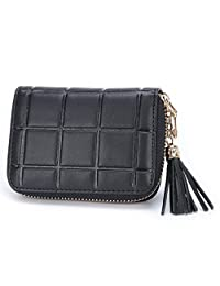 MuLier Genuine Leather Zipper Purse Tassels Anti RFID Credit Card Holder Small Wallet (Black)