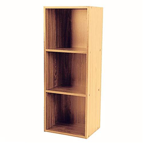 GOTOTOP Wood Bookcase, Storage Bookshelf Open Shelf Organizer Furniture Office Bookcase (Wood, 3 Tier)