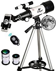 Gskyer 70mm Astronomical Refractor TelescopeThis 70x400mm refractor telescope can be a good observation of celestial bodies and terrestrial objects - best for viewing lunar and planetary. Featuring all coated glass optical components, the travel sco...