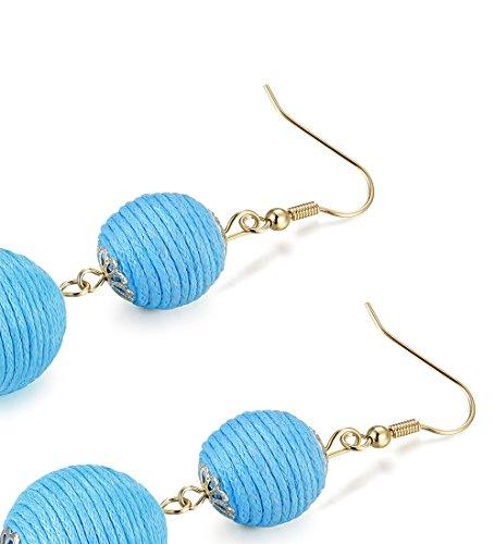 LOLIAS 3 Pairs Long Thread Tassel Earrings Set for Women Girls Beaded Fringe Tassel Earrings Gradient,Blue by LOLIAS (Image #2)