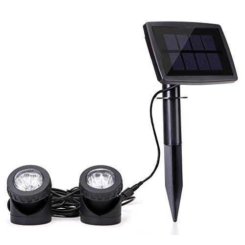 Solar Powered Spotlights with 2pcs Lamps Holder Waterproof Pond Lights for Ganden,Fountain,Patio, Lawn (White)